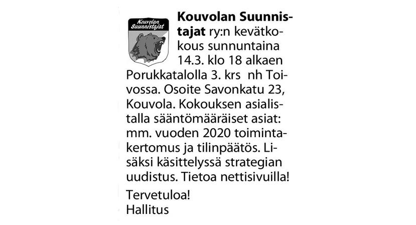 Virallinen kutsu - Kouvolan Sanomat 7.3.2021